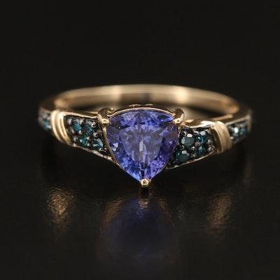10K Tanzanite and Blue Diamond Ring