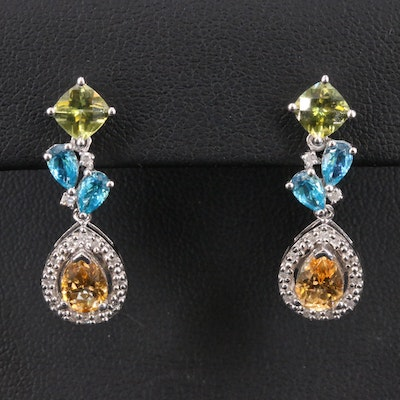 Sterling  Drop Earrings with Vesuvianite, Topaz and Diamond