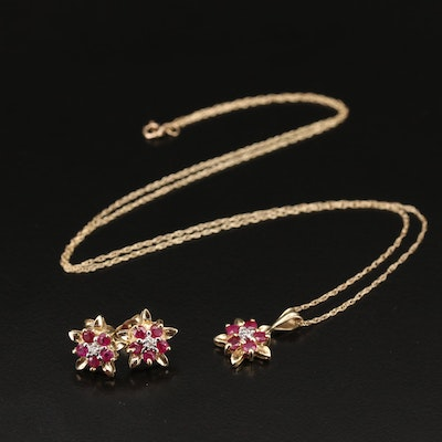 10K Ruby and Diamond Star Necklace and Earrings