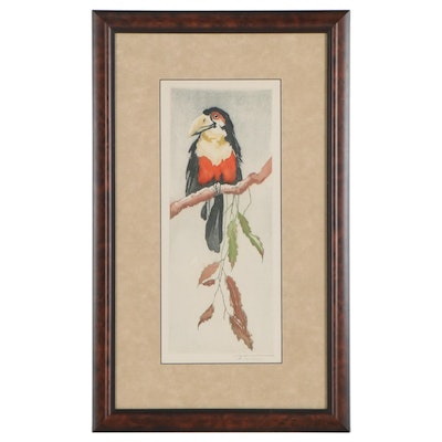Fritz Neumann Hand-Colored Etching with Aquatint of Toucan