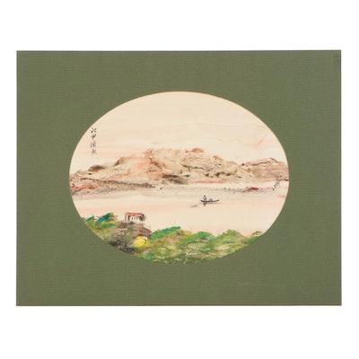 East Asian Lakeside Landscape Gouache Painting