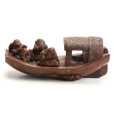 Chinese Carved Three Men in a Boat Wooden Figurine