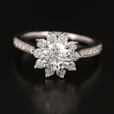 14K 1.43 CTW Diamond Halo Ring