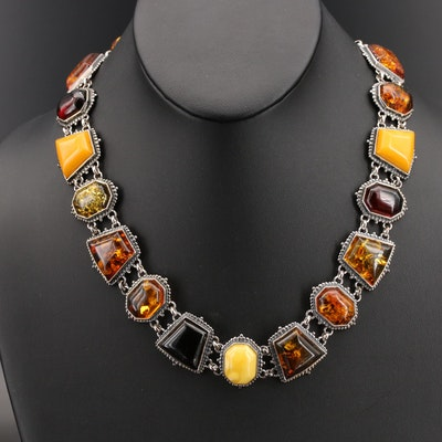 Sterling Amber Geometric Link Necklace