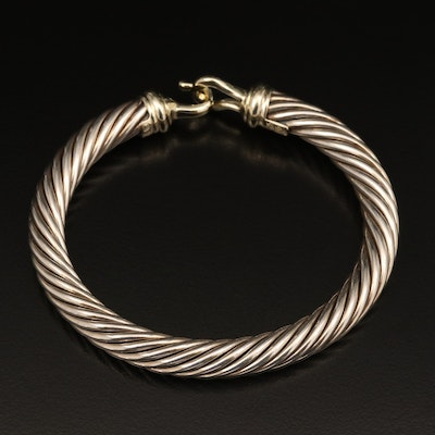David Yurman Sterling Cable Classic Buckle Bracelet with 14K Accents