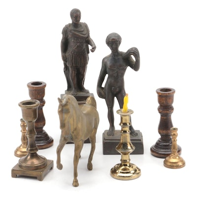 Metal and Wood Miniature Candlesticks with Other Metal Figurines