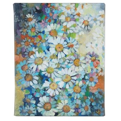 "Alexandra Zecevic Acrylic Painting ""Summer Blooms,"" 2019"