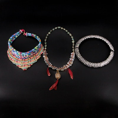 Deepa Gurnani Beaded, Scale and Woven Necklaces