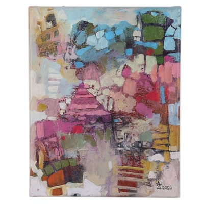 "Alexandra Zecevic Acrylic Painting ""Babylon,"" 2020"