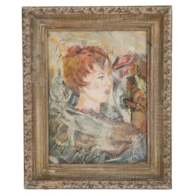 Figural Mixed Media Composition of Woman, Mid to Late 20th Century