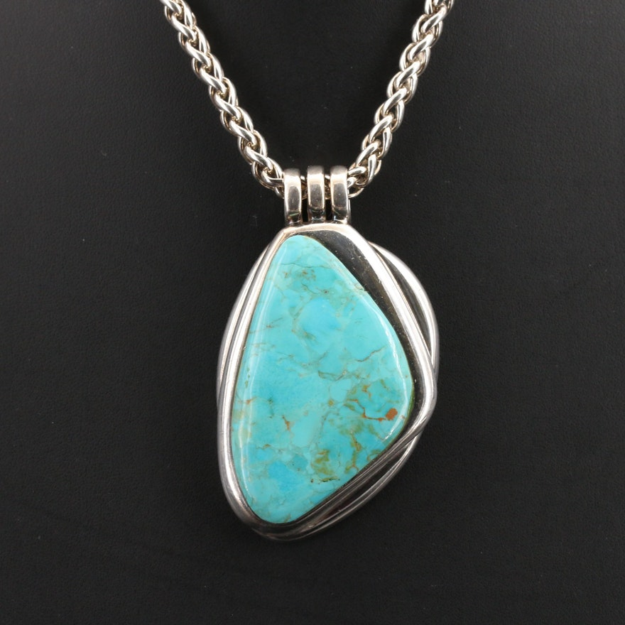 Barse Sterling Faux Turquoise Pendant Necklace