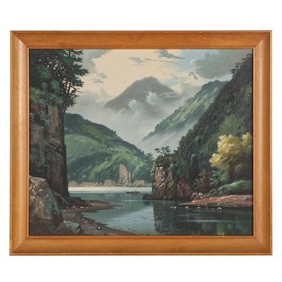 Shigeo Wakaishi Oil Painting of Mountainside Lake, Mid-Late 20th Century