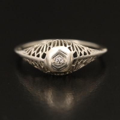 Edwardian 18K Openwork Diamond Solitaire Ring