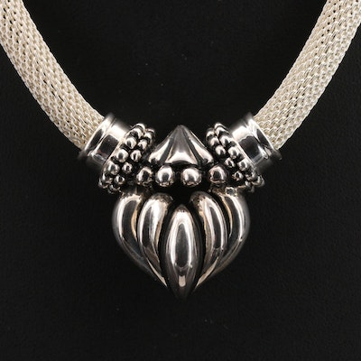 Joseph Esposito Sterling Mesh Necklace with Fluted Heart Pendant