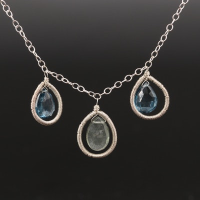 Sterling Silver Topaz and Labradorite Wire Wrapped Pendant Necklace