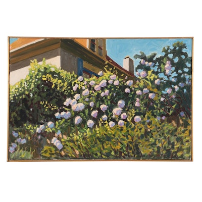 """Stephen Hankin Oil Painting """"White Climbing Roses on the Back Fence,"""" 2003"""