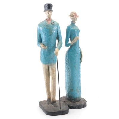 Austin Productions Inc. Painted Chalkware Man and Woman Figurines, 1973