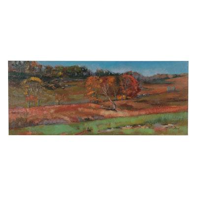 "William Pfahl Oil Painting ""Shepherd's Farm,"" 2004"