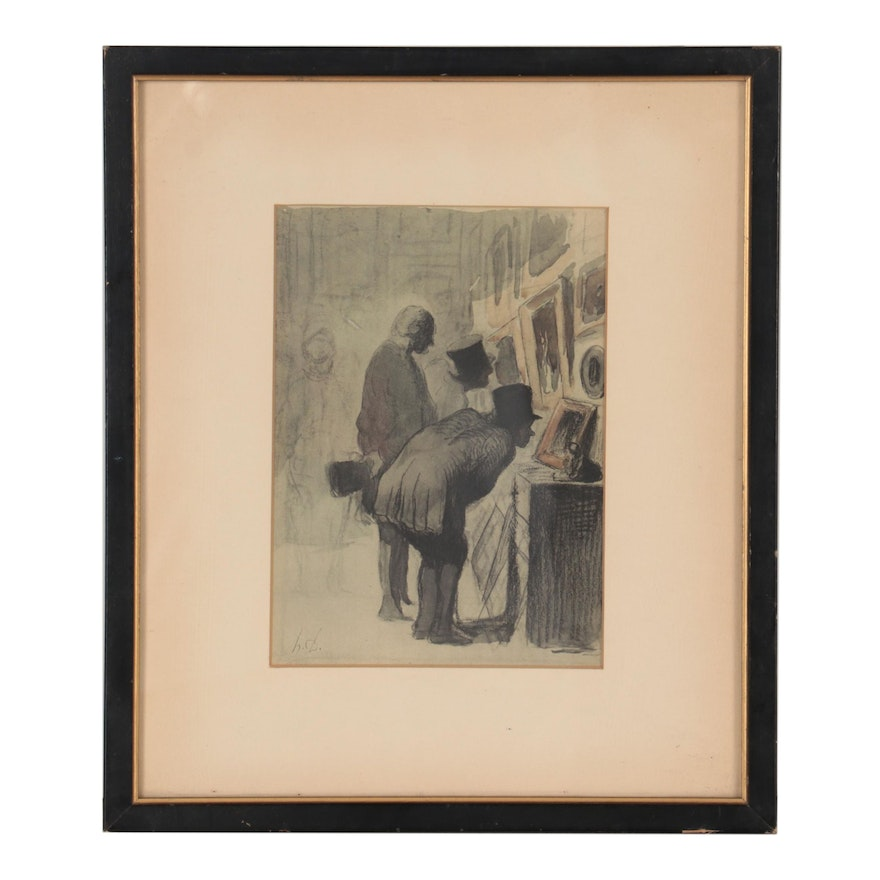 """Offset Lithograph After Honore Daumier """"Art Lovers"""""""
