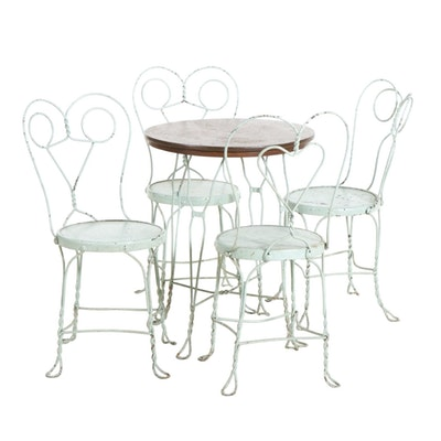 Painted Iron and Wood Five-Piece Ice Cream Parlor Set, 20th Century