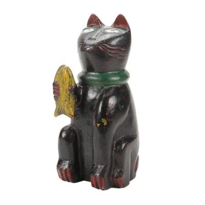 Hand-Painted Folk Art Wooden Cat Figurine
