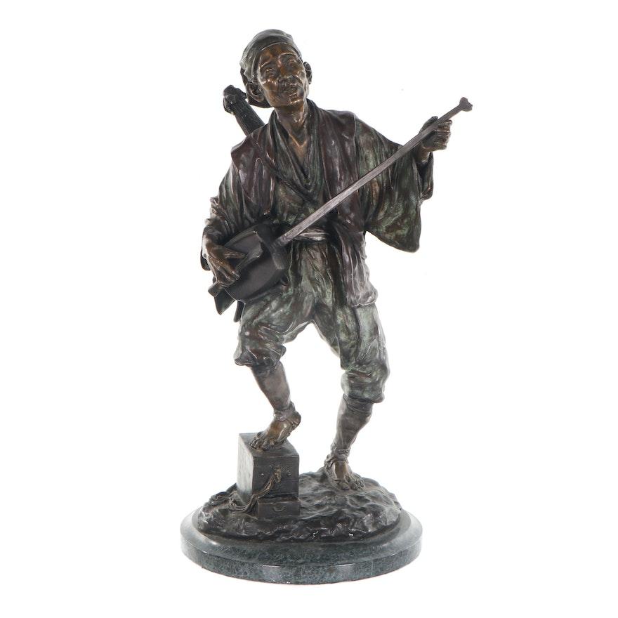 Bronze Sculpture of Japanese Man Playing a Shamisen