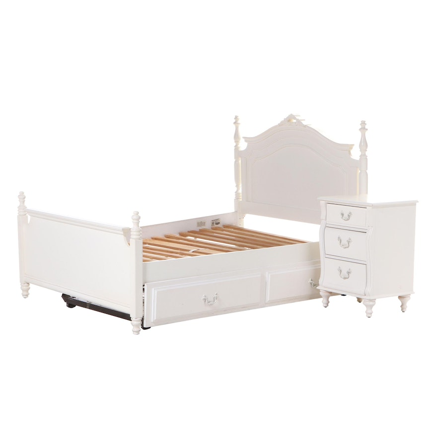 """Stanley """"Young America"""" Painted Wood Full Size Trundle Bed and Nightstand"""