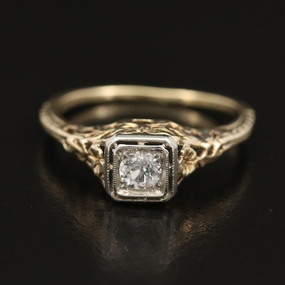 Vintage 14K Sapphire Ring with 18K Accent