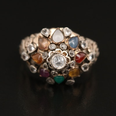 10K Spinel, Ruby and Gemstone Domed Ring with Sterling Setting