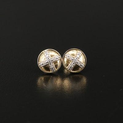 10K Diamond X Stud Earrings