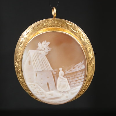 Circa 1918 10K Shell Scenic Cameo Converter Brooch with Engraved Floral Frame