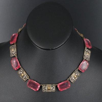 Art Deco Glass Link Necklace