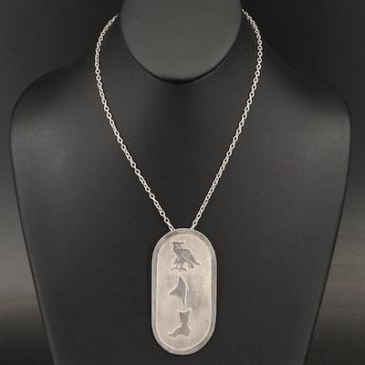 Signed J Benson Handmade Sterling Pendant Necklace