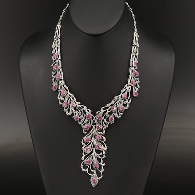 Sterling Ruby and Marcasite Necklace