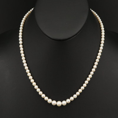 Vintage 10K Pearl and Diamond Graduated Necklace