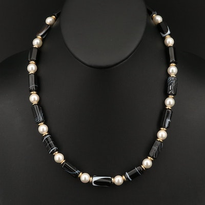 Faux Pearl and Agate Necklace