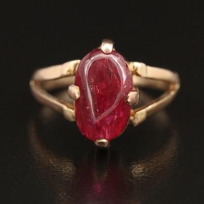 Vintage 10K Ruby Split Shoulder Ring