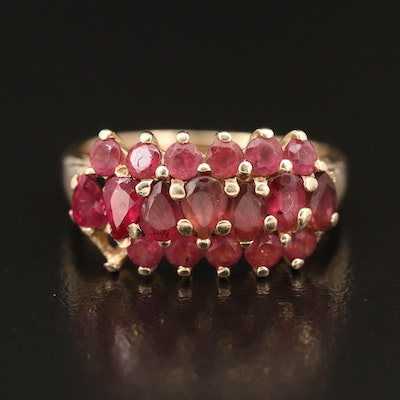 14K Ruby and Tourmaline Multi-Row Ring