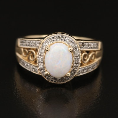 14K Opal and Diamond Halo Ring with Openwork Shoulders