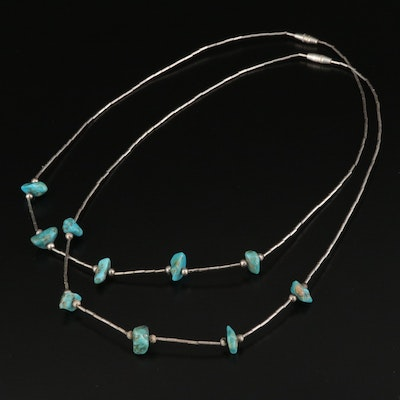 Sterling Liquid Silver Turquoise Necklaces