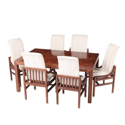 Seven-Piece Henredon Oak and Burl Elm Dining Set, Late 20th Century