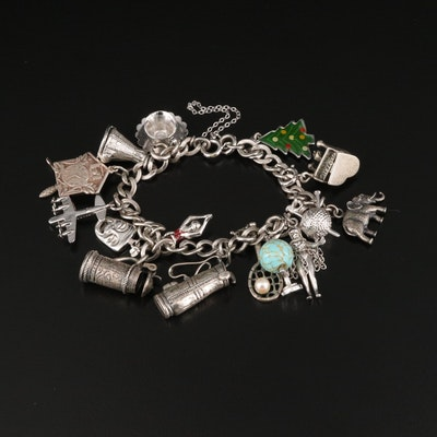 Vintage Danecraft Sterling Charm Bracelet with Assorted Glass and Enamel Charms