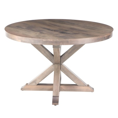 Contemporary Grey-Finished Cross-Base Dining Table