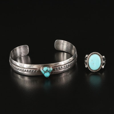 Signed Southwestern Sterling Turquoise Cuff and Sterling Turquoise Ring