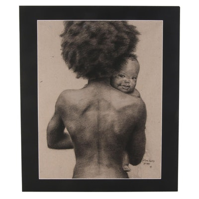 Williams Sunday Mother and Child Charcoal Drawing, 2020