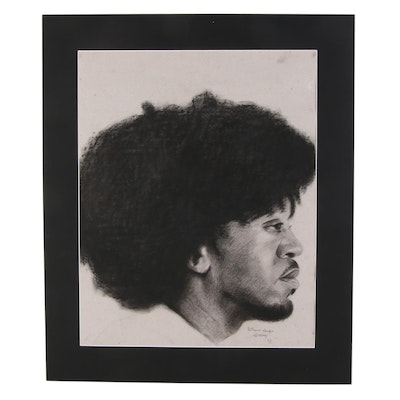 Williams Sunday Male Profile Portrait Charcoal Drawing, 2021