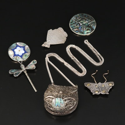 Michelle Soyka-Horosko Sterling Brooch Featured with Jewelry Including Abalone
