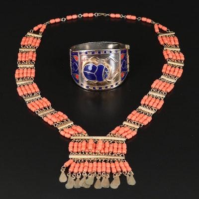 """Vintage Egyptian """"Mummy Bead"""" Necklace and Enamel Scarab Hinged Bracelet"""