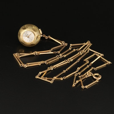 Vintage Bucherer Gold Tone Pendant Watch