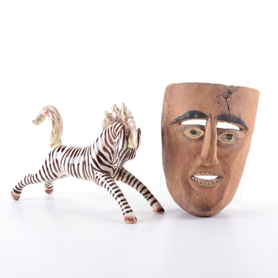 Mexican Ceramic Zebra Figurine and Carved Wood Face Mask